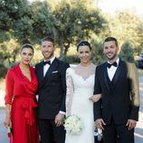 René Ramos y Vania Millán el día de su boda con Pilar Rubio y Sergio Ramos