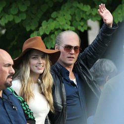 Johnny Depp y Amber Heard en el rodaje de 'Black Mass'