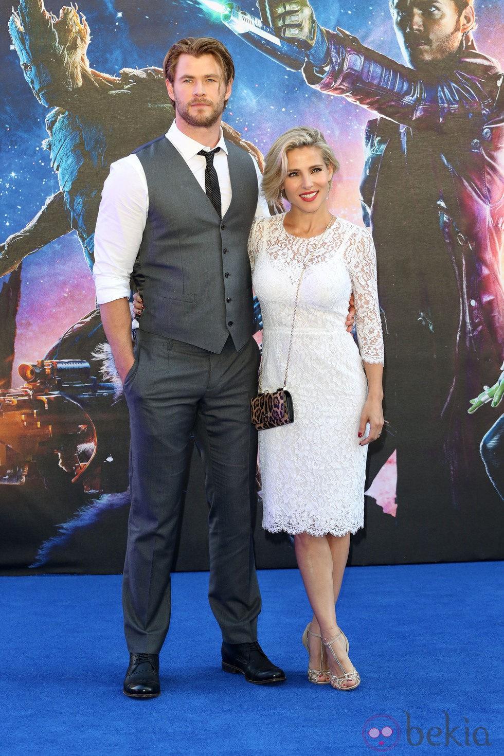 Chris Hemsworth y Elsa Pataky en el estreno de 'Guardianes de la Galaxia' en Londres