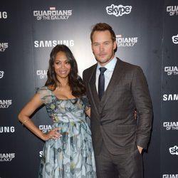 Chris Pratt y Zoe Saldaña en el estreno de 'Guardianes de la Galaxia' en Londres