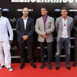 Wesley Snipes, Jason Statham, Sylvester Stallone, Antonio Banderas y Kellan Lutz en el estreno de 'Los Mercenarios 3' en Marbella