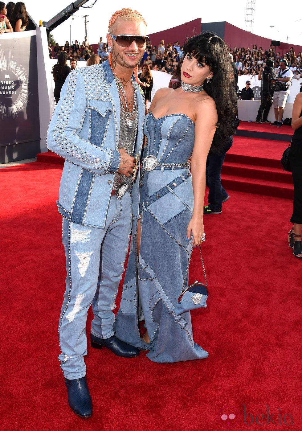 Katy Perry y Riff Raff en la alfombra roja de los MTV Video Music Awards 2014