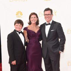 Stephen Colbert y Evelyn McGee-Colbert en la alfombra roja de los Premios Emmy 2014