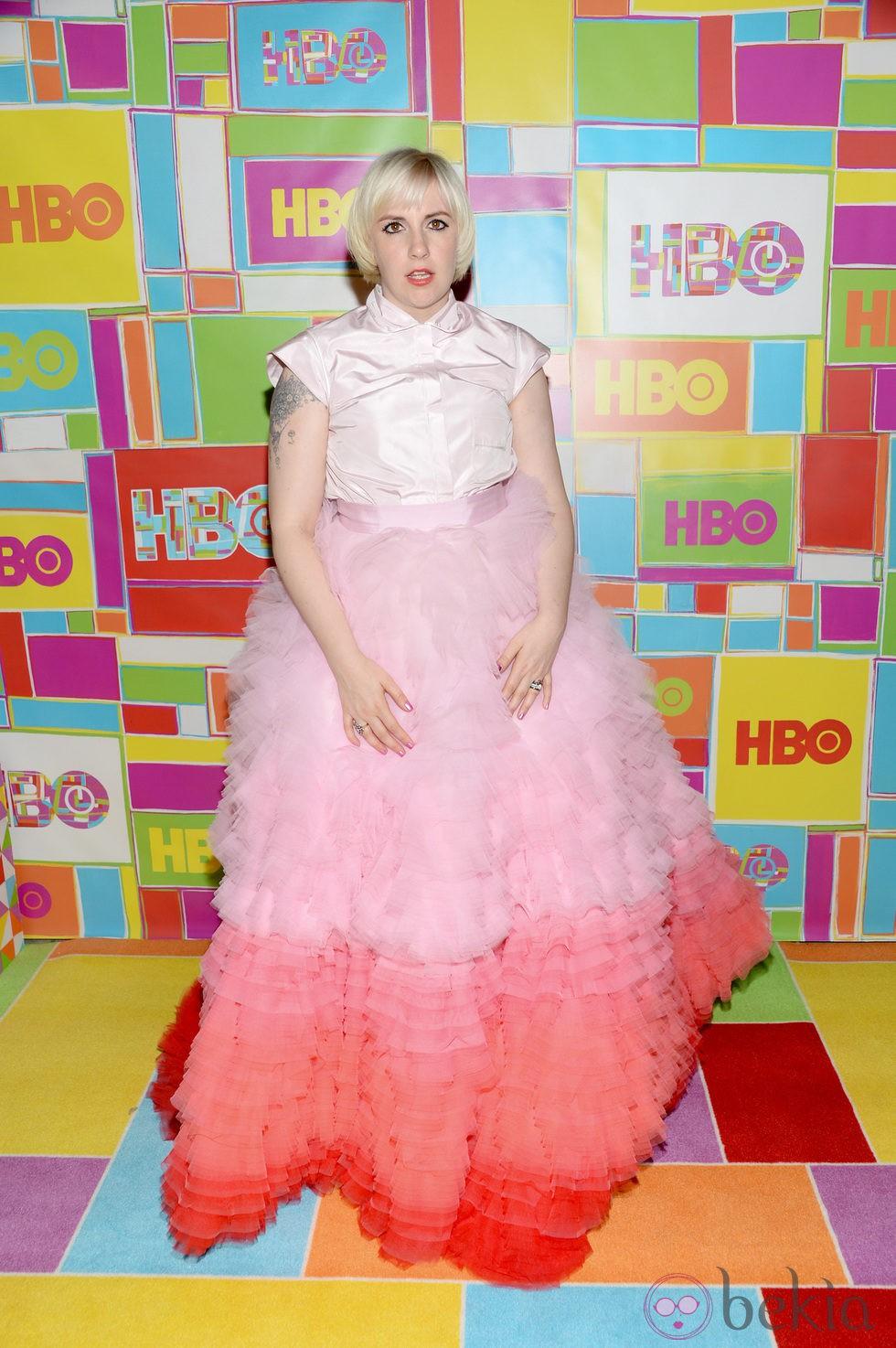 Lena Dunham en la fiesta de HBO tras los Emmy 2014