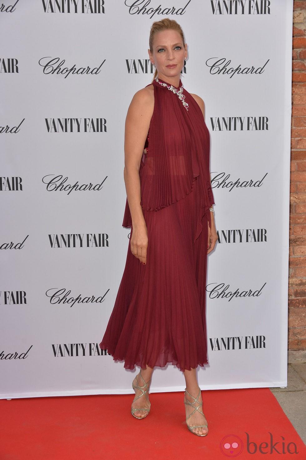 Uma Thurman en la fiesta organizada por Vanity Fair y Chopard en el Festival de Venecia 2014