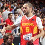 Mario Suárez en el partido del Mundial de Baloncesto 2014 Francia-España
