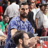 Miguel Ángel Moyá y Juanfran en el partido del Mundial de Baloncesto 2014 Francia-España