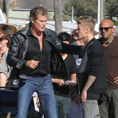 Justin Bieber y David Hasselhoff en Venice Beach, California