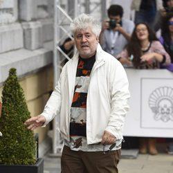 Pedro Almodóvar llegando al Festival de Cine de San Sebastián 2014