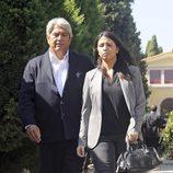 José Verdasco y su hija Sara en el funeral de Miguel Boyer