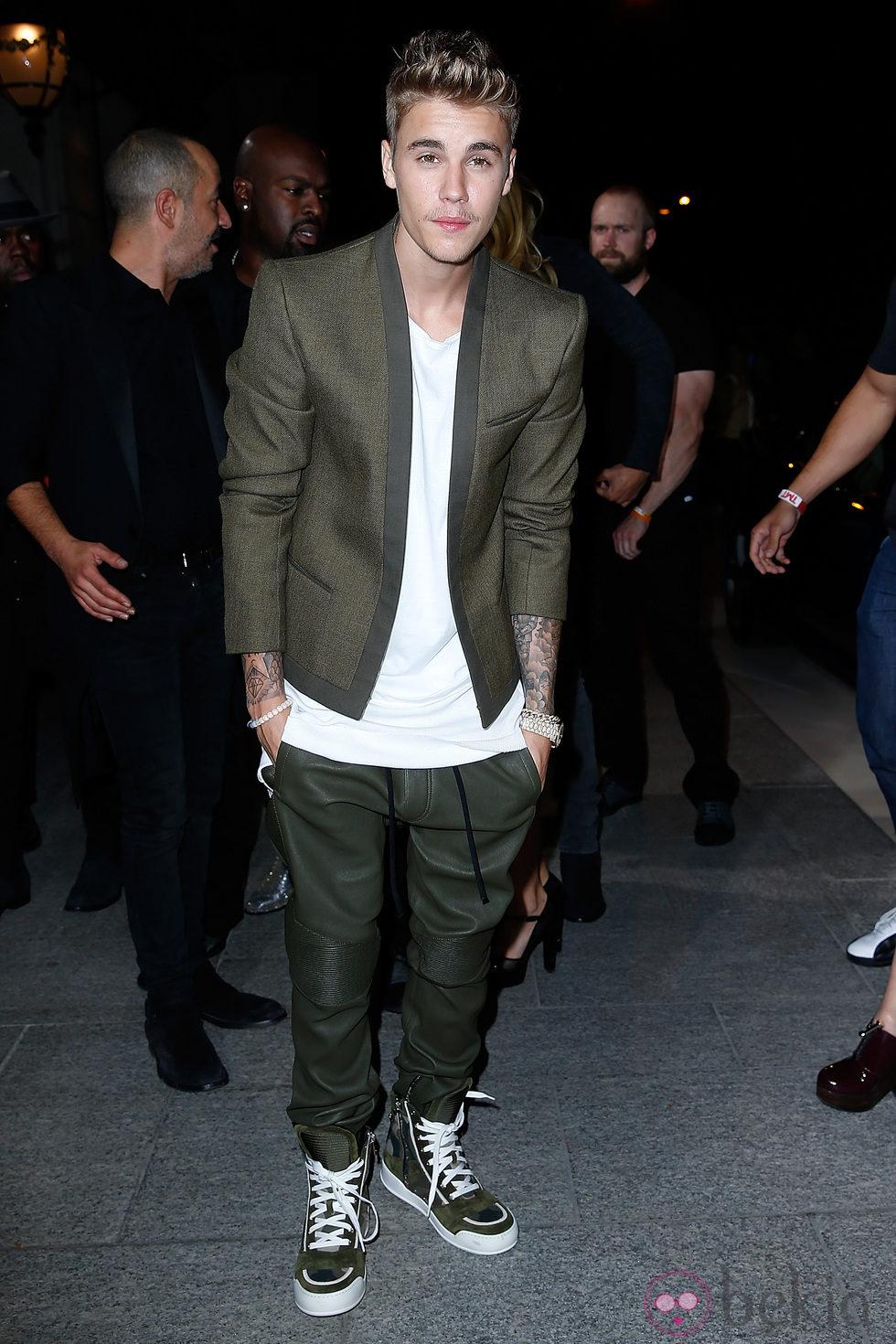 Justin Bieber en una fiesta organizada en el marco de la Paris Fashion Week