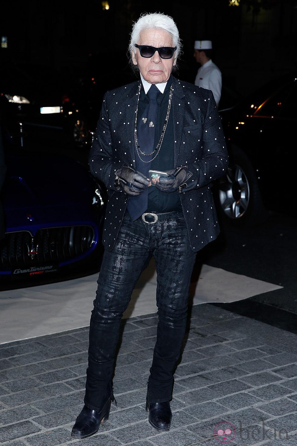 Karl Lagerfeld en una fiesta organizada en el marco de la Paris Fashion Week
