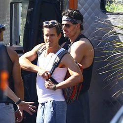 Joe Manganiello y Matt Bomer en el rodaje de 'Magic Mike XXL'
