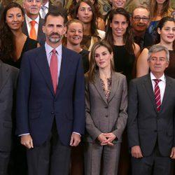 Los Reyes Felipe y Letizia en una audiencia antes del Día de la Hispanidad 2014