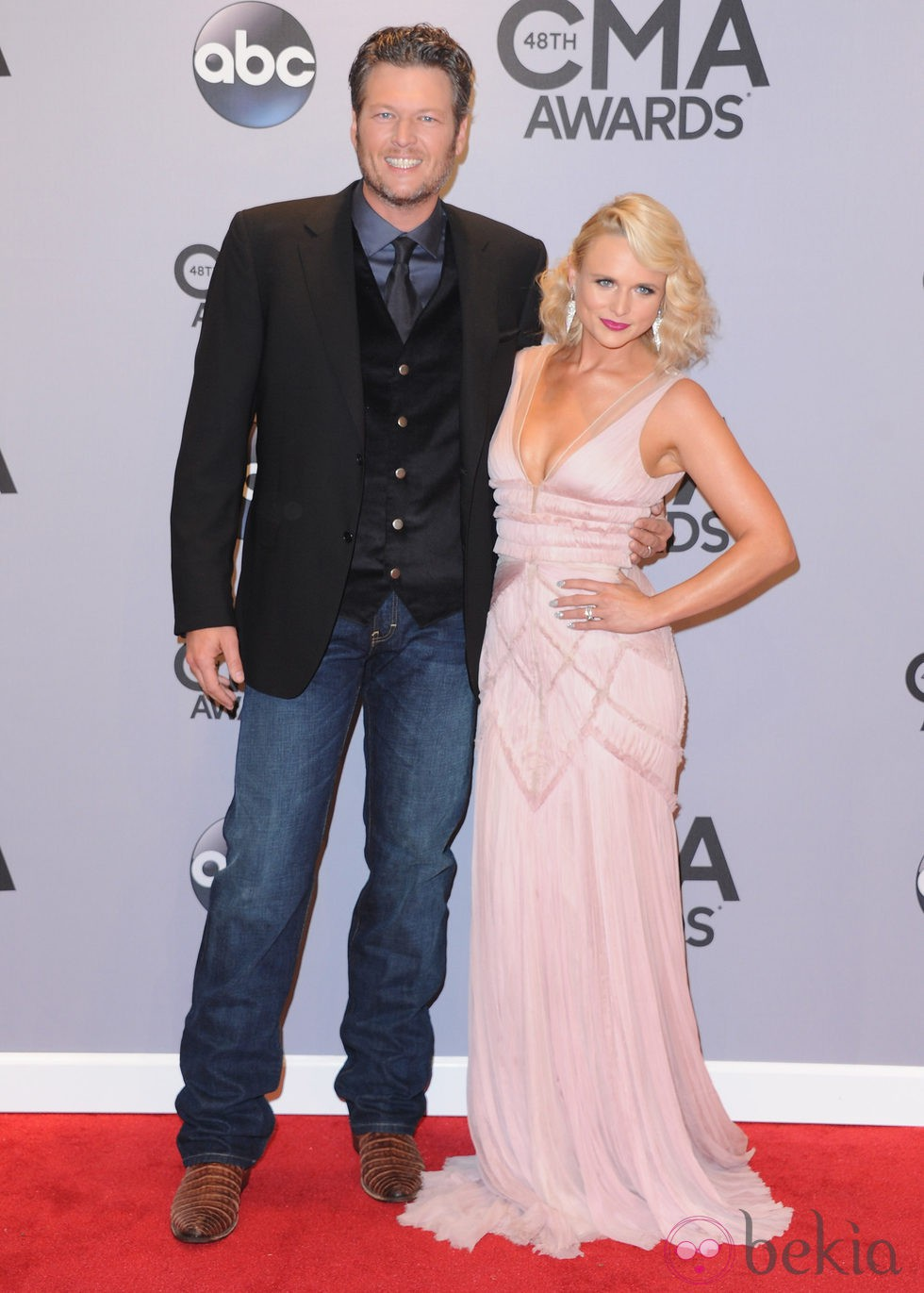 Miranda Lambert y Blake Shelton en la entrega de los premios CMA Awards 2014