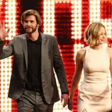 Jennifer Lawrence y Liam Hemsworth presentando Sinsajo en Austria