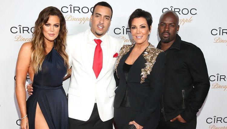 Khloé Kardashian, French Montana, Kris Jenner y  Corey Gamble en el 30º cumpleaños de French Montana