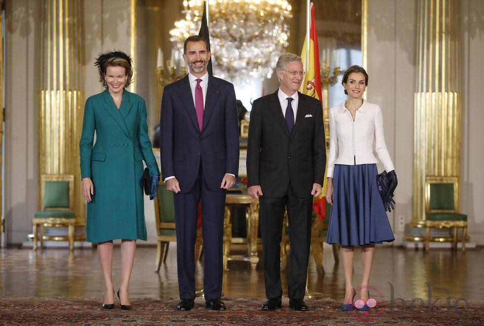 Los Reyes Felipe y Letizia con los Reyes de Bélgica en su primera visita a Bélgica como Reyes de España