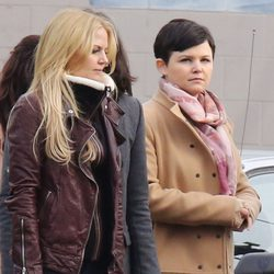 Jennifer Morrison y Ginnifer Goodwin en el rodaje de 'Once Upon a Time'