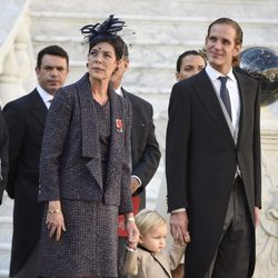 Carolina de Mónaco con Sasha y Andrea Casiraghi en el Día Nacional de Mónaco 2014