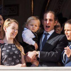 Carolina de Mónaco, Alexandra de Hannover, Andrea y Sasha Casiraghi y Estefanía de Mónaco en el Día Nacional de Mónaco 2014