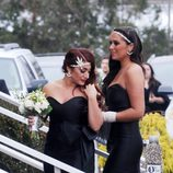 Samantha Giancola y Deena Cortese llegando a la boda de Snooki