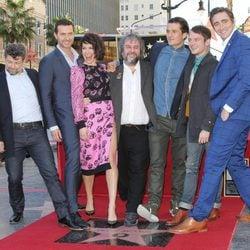 Evangeline Lilly, Peter Jackson, Orlando Bloom y Elijah Wood en el Paseo de la Fama