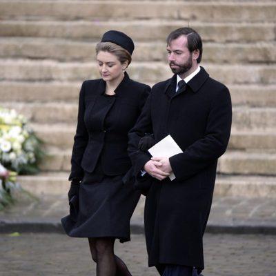 Guillermo y Estefanía de Luxemburgo en el funeral de Fabiola de Bélgica