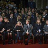 Los Reyes de Bélgica y sus cuatro hijos en el funeral de la Reina Fabiola