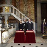 Los Reyes Juan Carlos y Sofía en el funeral de la Duquesa de Alba en Madrid