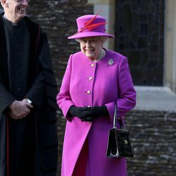 La Reina Isabel II en la Misa de Navidad 2014