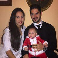 Isco Alarcón con su novia Victoria Calderón y su hijo Isco felicitando la Navidad 2014