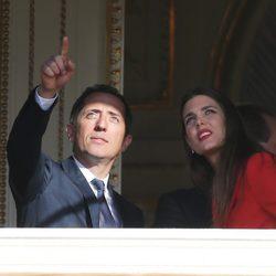 Carlota Casiraghi y Gad Elmaleh en la presentación oficial de Jacques y Gabriella de Mónaco