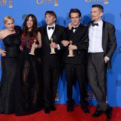 Patricia Arquette, Lorelei Linklater, Richard Linklater, Ellar Coltrane y Ethan Hawke, mejor película de drama en los Globos de Oro 2015