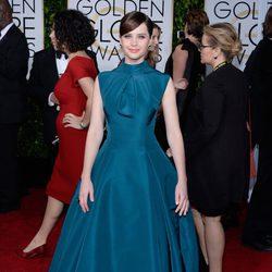 Felicity Jones en la alfombra roja de los Globos de Oro 2015