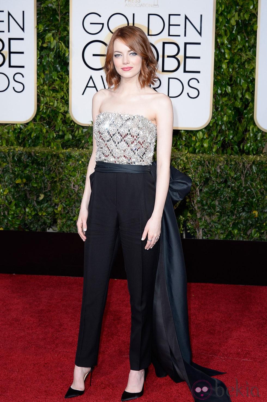 Emma Stone en la alfombra roja de los Globos de Oro 2015