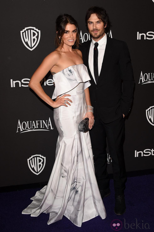 Nikki Reed e Ian Somerhalder en la fiesta organizada por Warner tras los Globos de Oro 2015