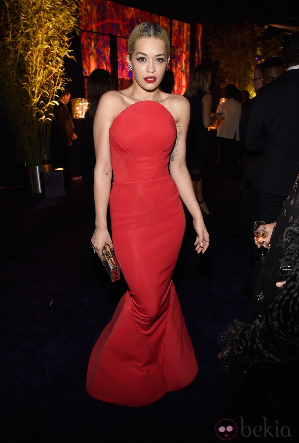 Rita Ora en la fiesta organizada por Warner tras los Globos de Oro 2015