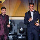 Cristiano Ronaldo y Leo Messi en la gala de entrega del Balón de Oro 2014