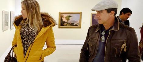 Antonio Banderas y Nicole Kimpel en el Museo Thyssen de Málaga