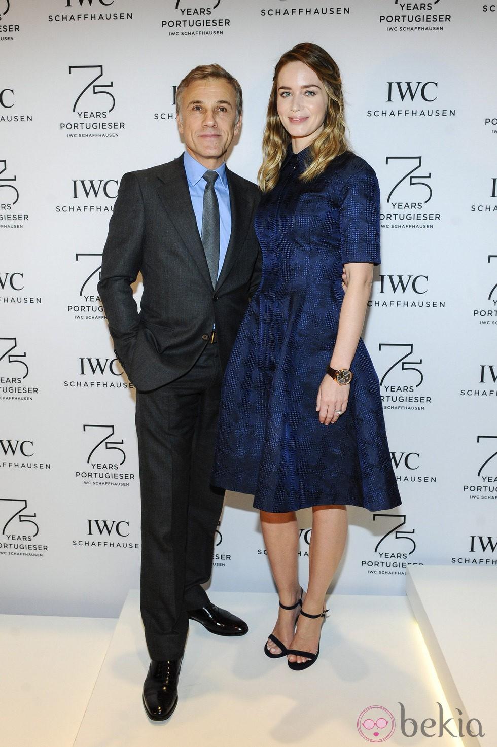 Christoph Waltz y Emily Blunt en el Salón de la Alta Relojería de Ginebra