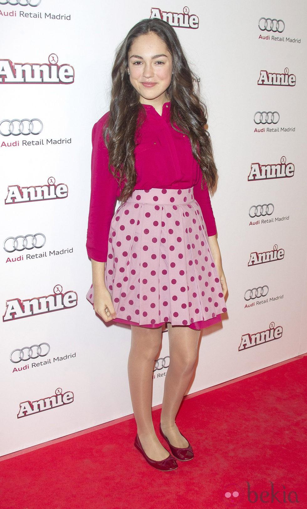 María Parrado en la premiere de 'Annie' en Madrid