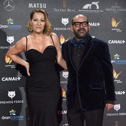 José Corbacho y su mujer, Anna Barrachina, en la alfombra roja de los Premios Feroz 2015