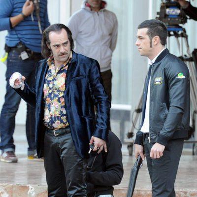 Luis Tosar y Mario Casas en el rodaje de la película 'Toro'