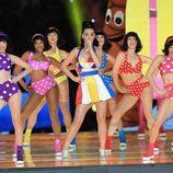 Katy Perry durante su actuación en la Super Bowl 2015