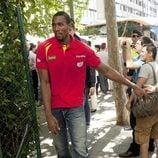 Sergio Ibaka en la celebración de la victoria del Eurobasket 2011