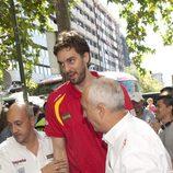 Pau Gasol en la celebración de la victoria del Eurobasket 2011