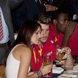 Helen Lindes y Rudy Fernández en la celebración de la victoria del Eurobasket 2011