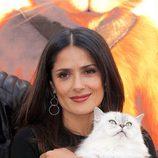 Salma Hayek en la presentación en Moscú de 'El gato con botas'