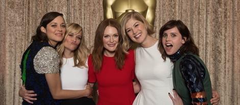Marion Cotillard, Reese Witherspoon,  Julianne Moore, Rosamund Pike y Felicity Jones en el almuerzo de los nominados a los Oscar 2015